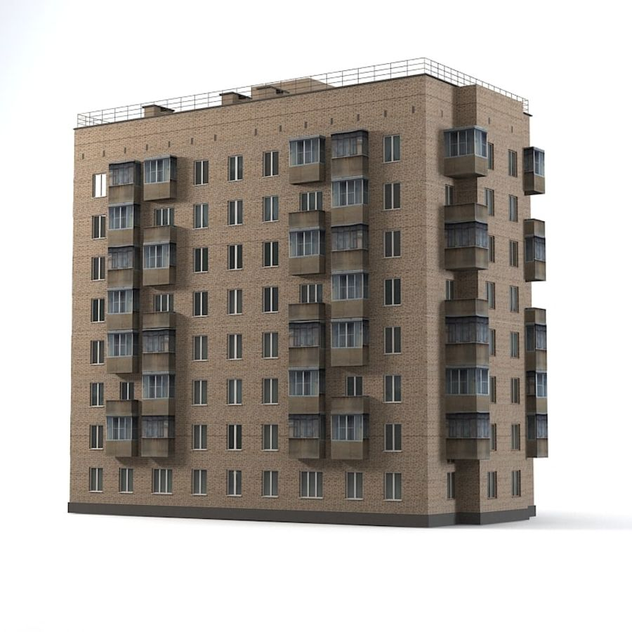 Brick Old Civil Building royalty-free 3d model - Preview no. 3