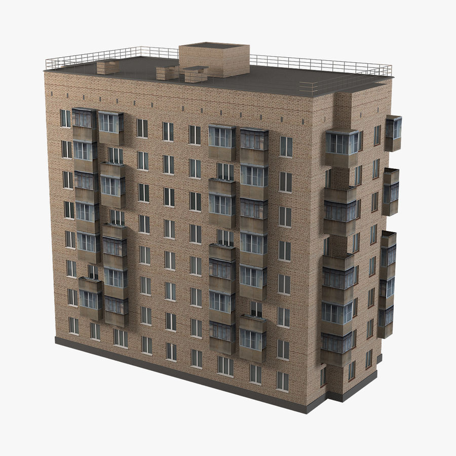 Brick Old Civil Building royalty-free 3d model - Preview no. 1