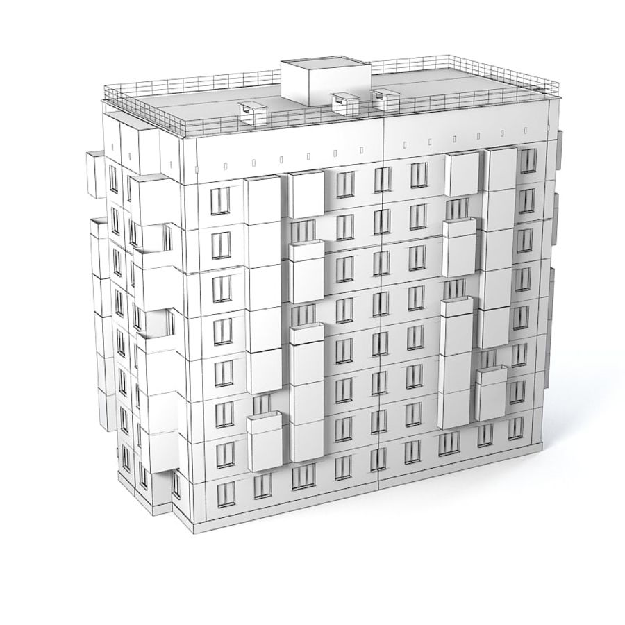 Brick Old Civil Building royalty-free 3d model - Preview no. 6