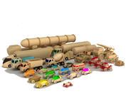 木制汽车和卡车收藏 3d model