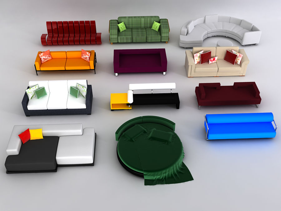 Sofas collection royalty-free 3d model - Preview no. 3
