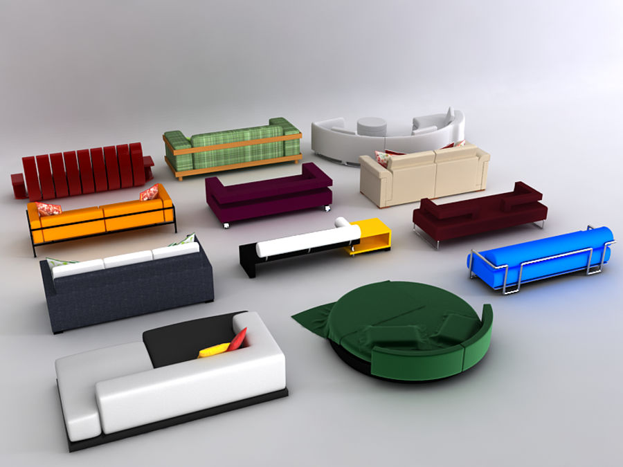 Sofas collection royalty-free 3d model - Preview no. 6