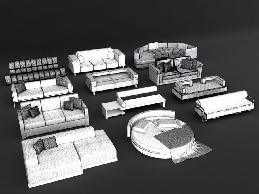 Sofas collection royalty-free 3d model - Preview no. 7