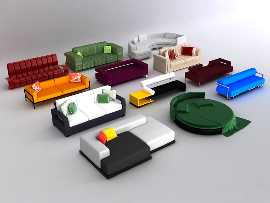 Sofas collection royalty-free 3d model - Preview no. 2
