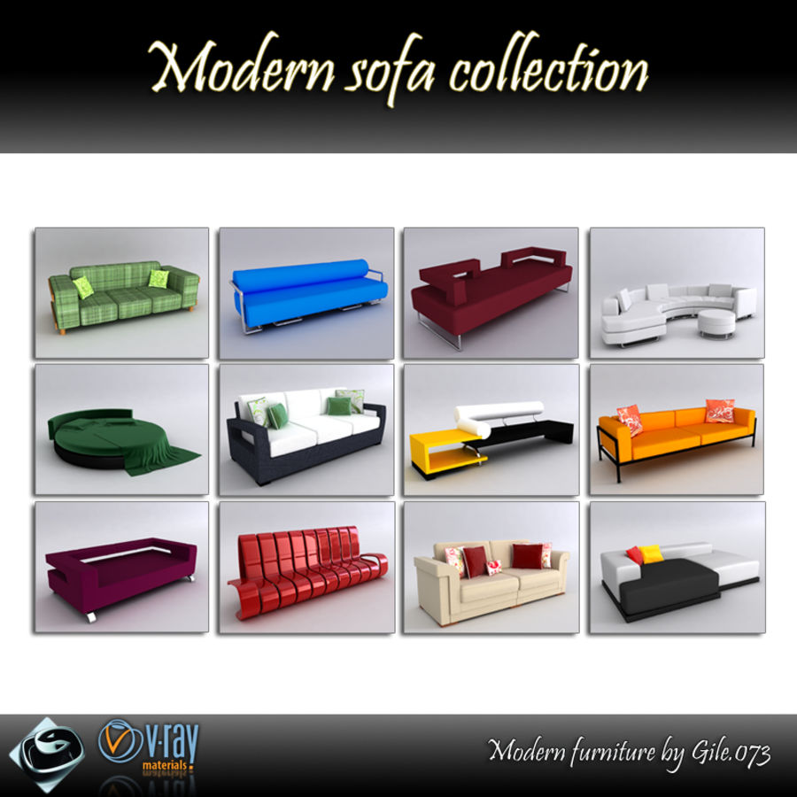 Sofas collection royalty-free 3d model - Preview no. 1