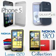 Colección de teléfonos inteligentes de iPhone 5, Samsung Galaxy S3, Nokia Lumia 920, Nokia Lumia 820 modelo 3d