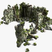 Casa Pedra Velha Tijolo Pedra Ruína Edifício Selva 3d model