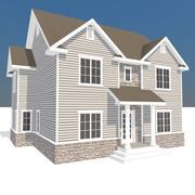 Frühes amerikanisches Bauernhaus 3d model