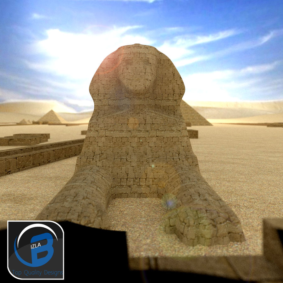 egyptian pyramids giza plateau royalty-free 3d model - Preview no. 2