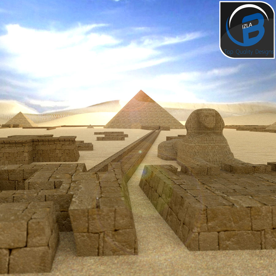 egyptian pyramids giza plateau royalty-free 3d model - Preview no. 9