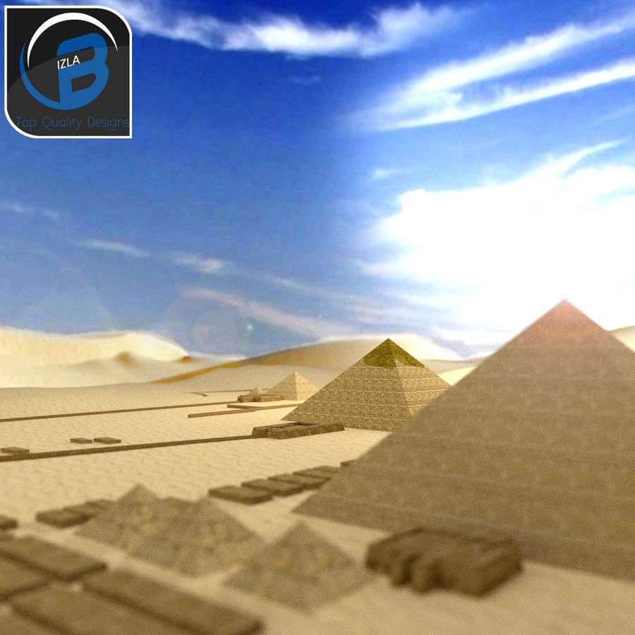 egyptian pyramids giza plateau royalty-free 3d model - Preview no. 4