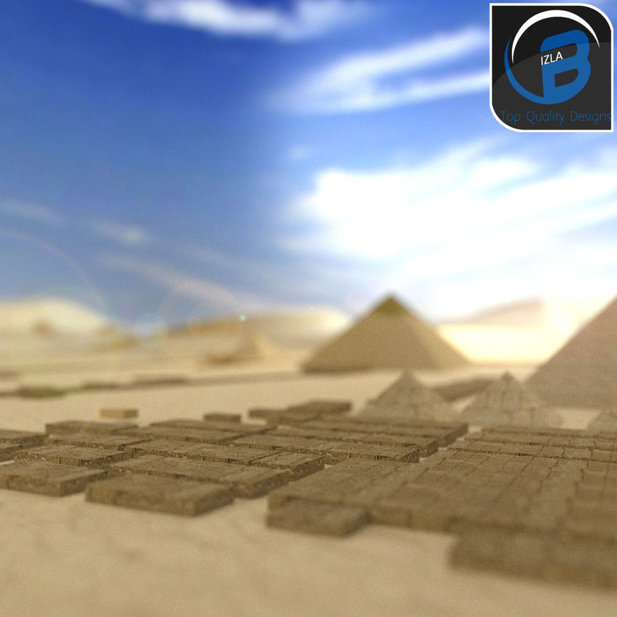 egyptian pyramids giza plateau royalty-free 3d model - Preview no. 5