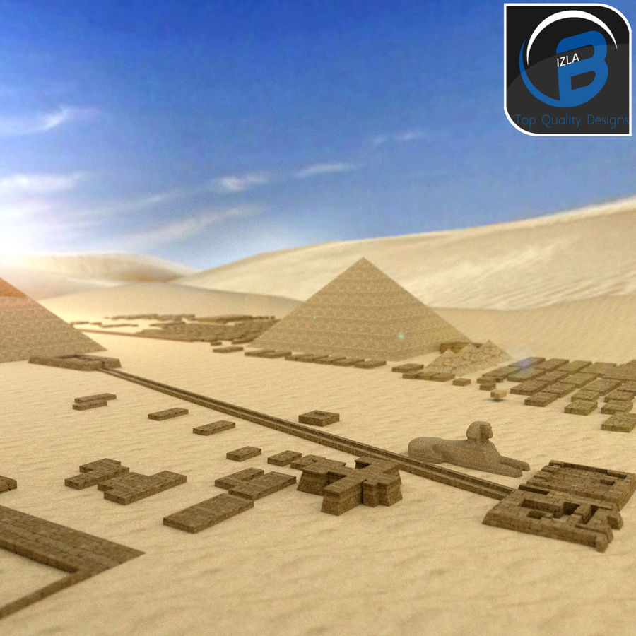 egyptian pyramids giza plateau royalty-free 3d model - Preview no. 1