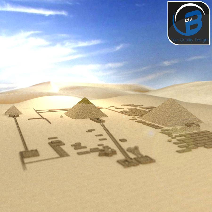 egyptian pyramids giza plateau royalty-free 3d model - Preview no. 3