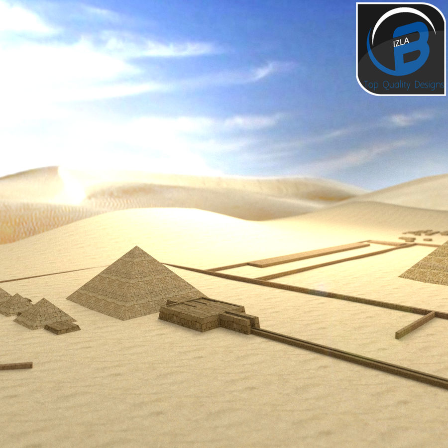 egyptian pyramids giza plateau royalty-free 3d model - Preview no. 8