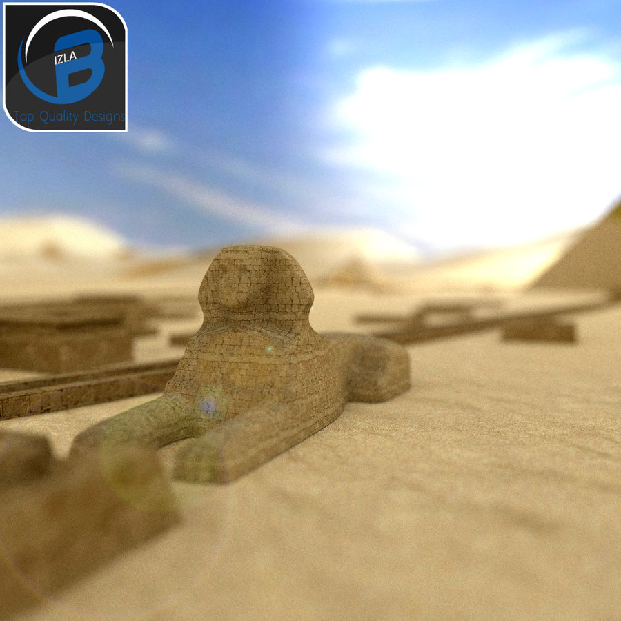 egyptian pyramids giza plateau royalty-free 3d model - Preview no. 7