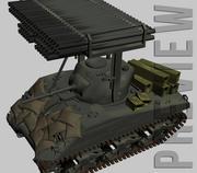 Sherman M4A3 z wyrzutniami rakiet 3d model