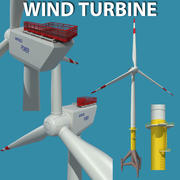Turbina de viento costa afuera modelo 3d