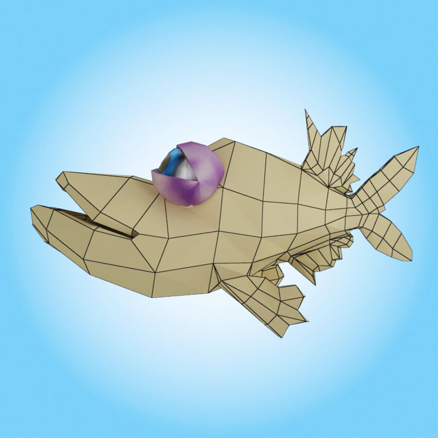 Ryba kreskówka royalty-free 3d model - Preview no. 9