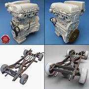 車のシャーシとエンジン 3d model