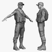 Arab Soldier Mercenary Male 3d model
