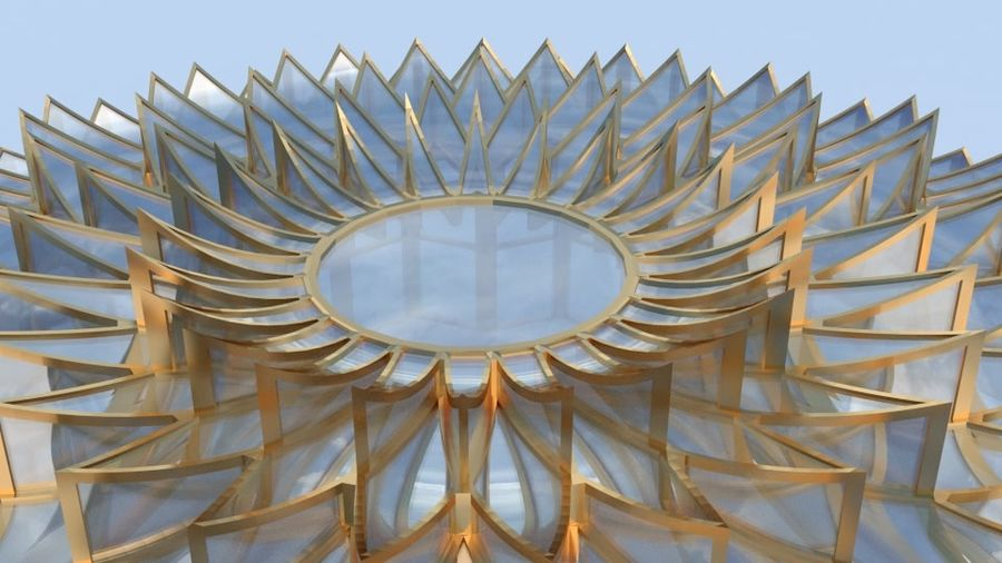 petalled flower glass dome royalty-free 3d model - Preview no. 4