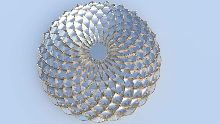 petalled flower glass dome royalty-free 3d model - Preview no. 5