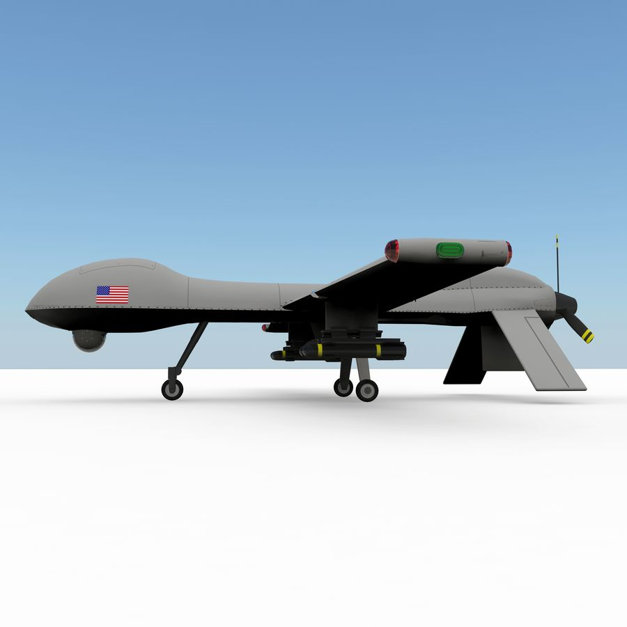 Predator Drone royalty-free 3d model - Preview no. 8