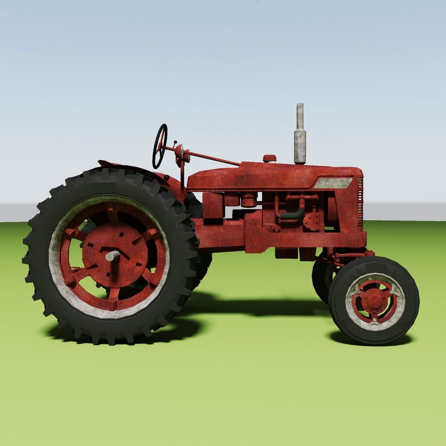 Old Rusty Tractor royalty-free 3d model - Preview no. 5