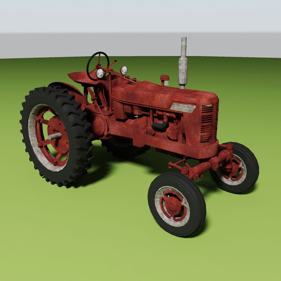 Old Rusty Tractor royalty-free 3d model - Preview no. 3