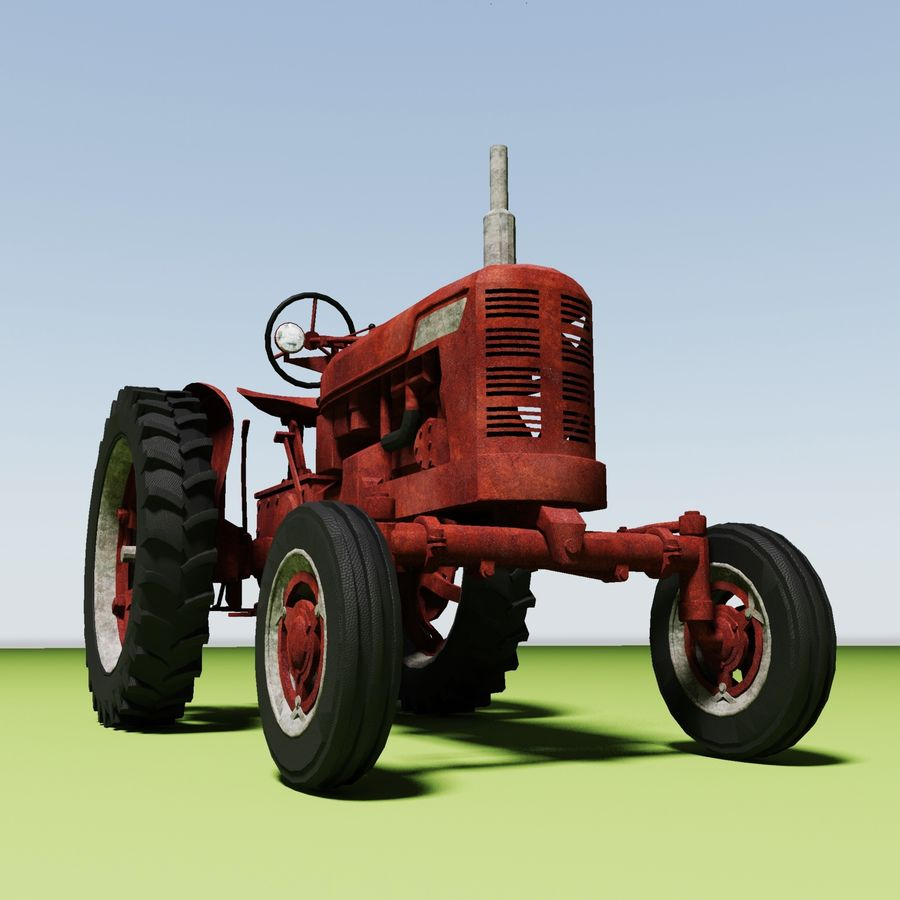 Old Rusty Tractor royalty-free 3d model - Preview no. 7