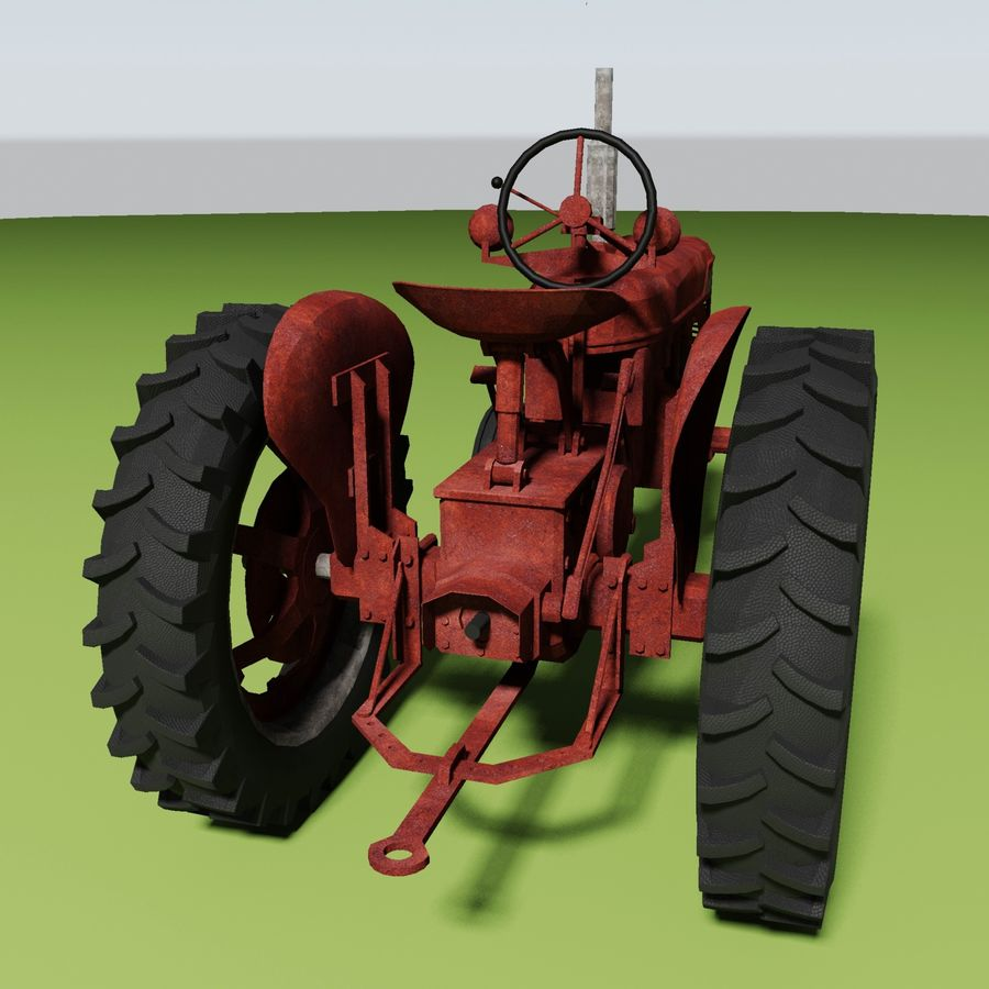 Old Rusty Tractor royalty-free 3d model - Preview no. 4