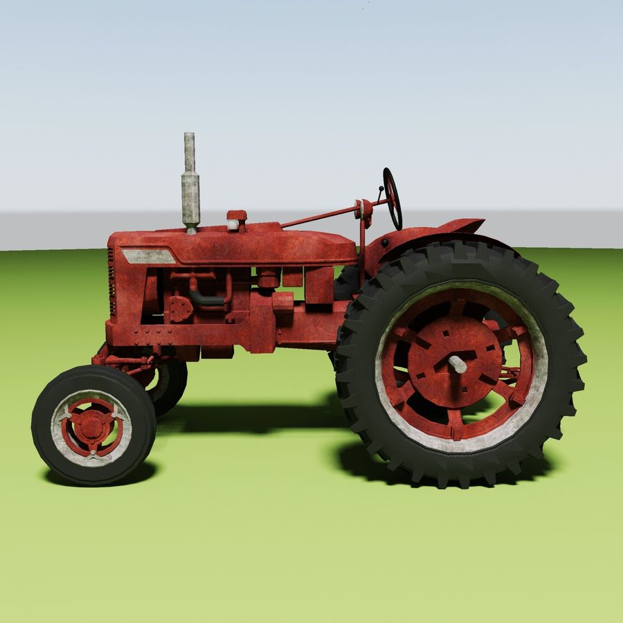 Old Rusty Tractor royalty-free 3d model - Preview no. 6