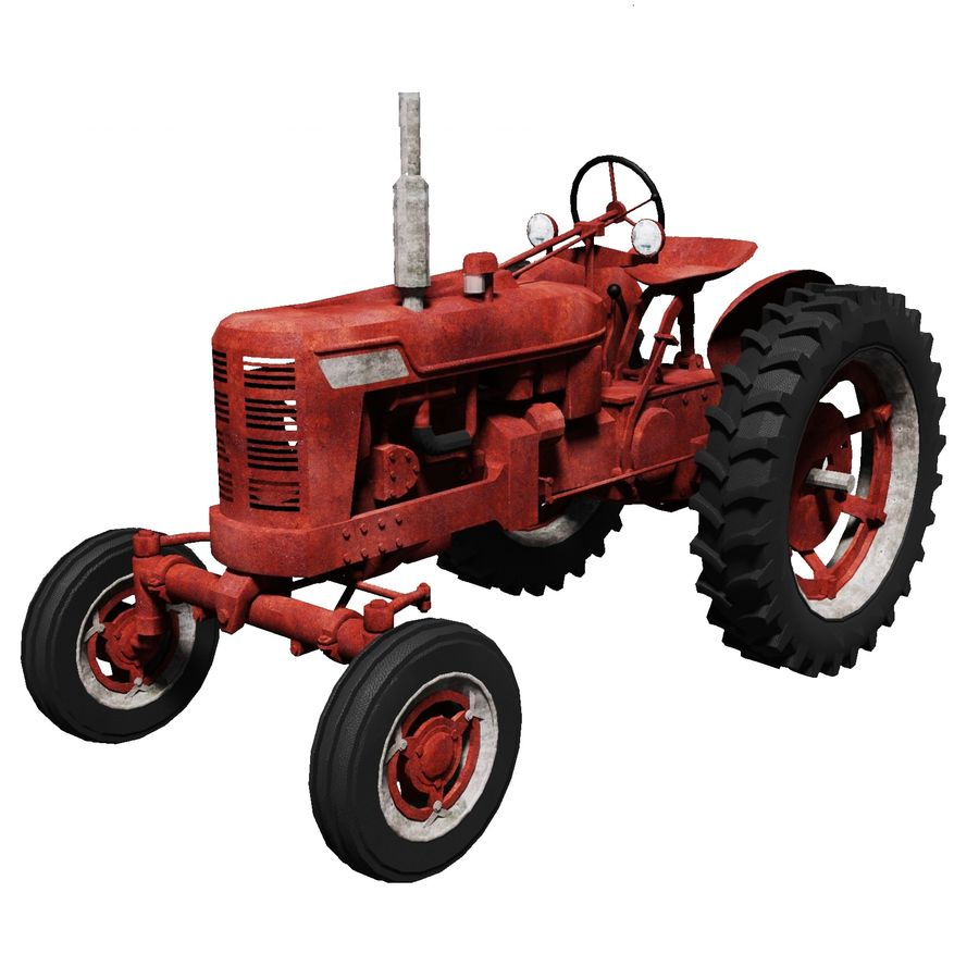 Old Rusty Tractor royalty-free 3d model - Preview no. 1