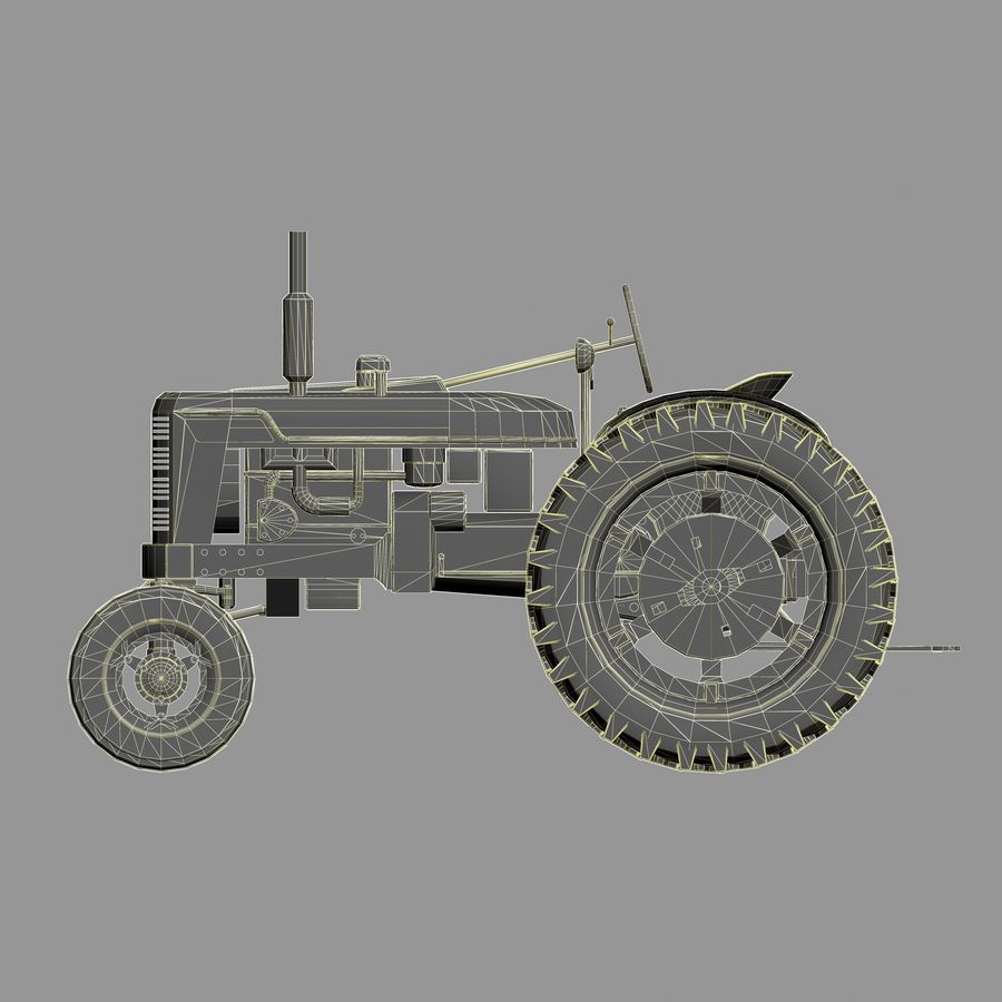 Old Rusty Tractor royalty-free 3d model - Preview no. 8