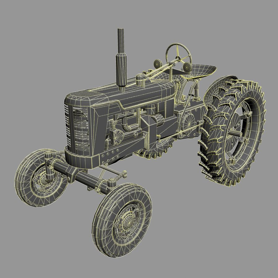 Old Rusty Tractor royalty-free 3d model - Preview no. 11