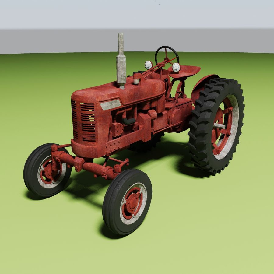 Old Rusty Tractor royalty-free 3d model - Preview no. 2