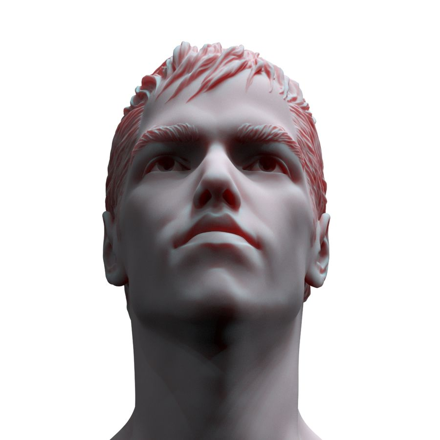 Superhero head royalty-free 3d model - Preview no. 2