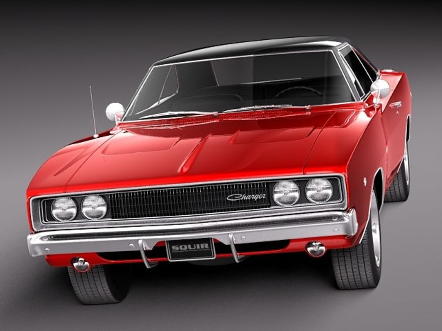 Dodge Charger 1968 royalty-free 3d model - Preview no. 3