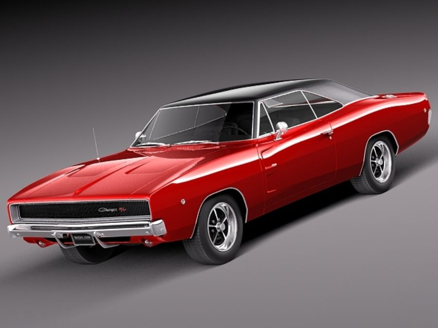 Dodge Charger 1968 royalty-free 3d model - Preview no. 1