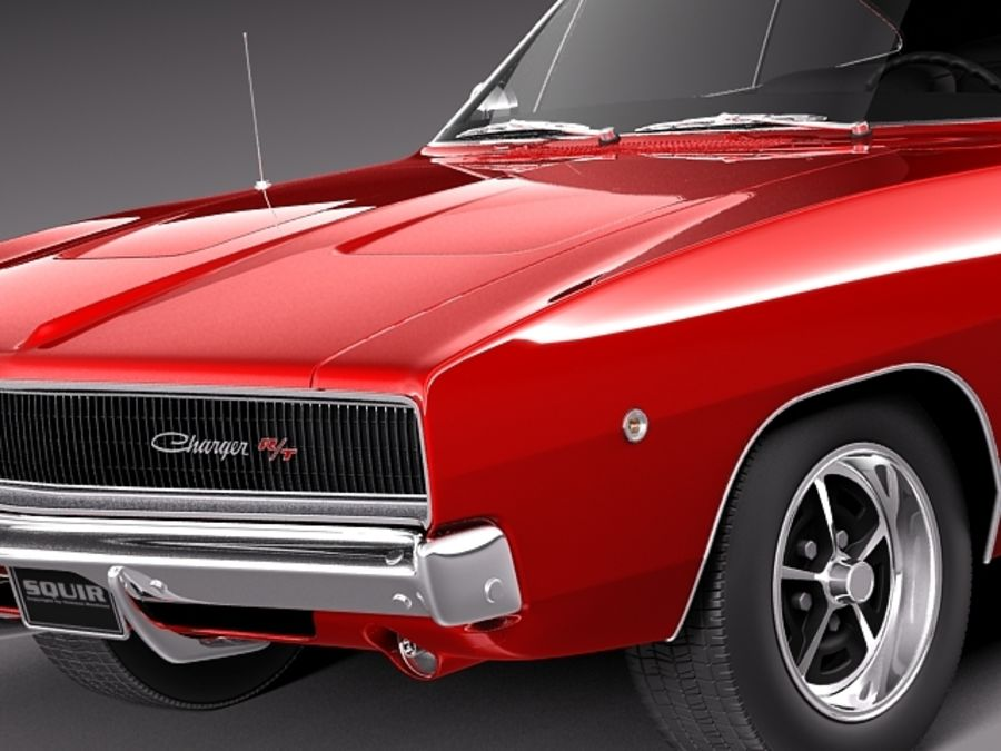 Dodge Charger 1968 royalty-free 3d model - Preview no. 4