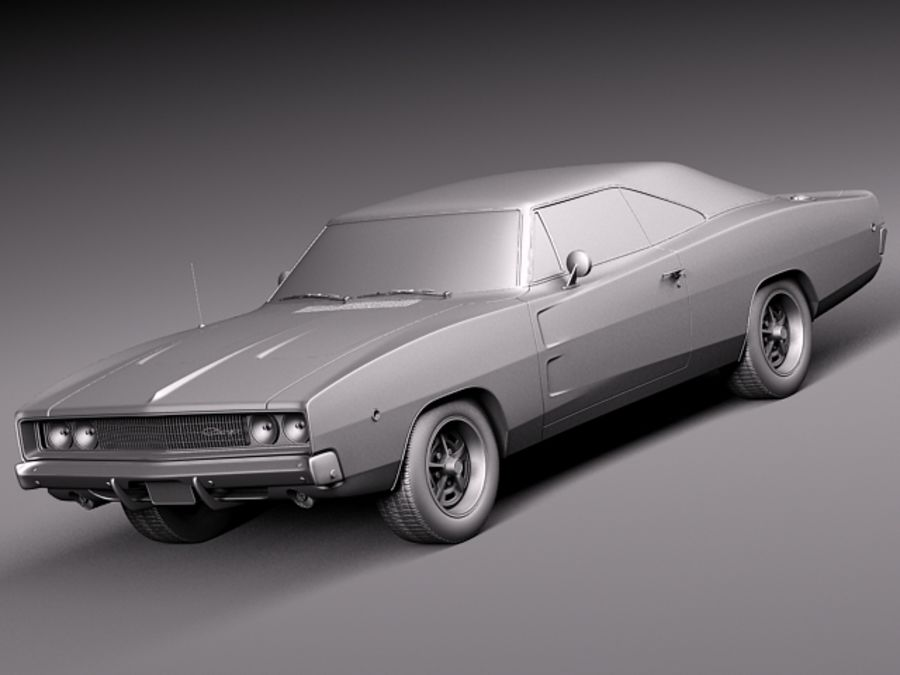 Dodge Charger 1968 royalty-free 3d model - Preview no. 11