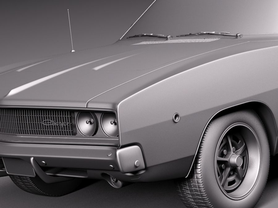 Dodge Charger 1968 royalty-free 3d model - Preview no. 12