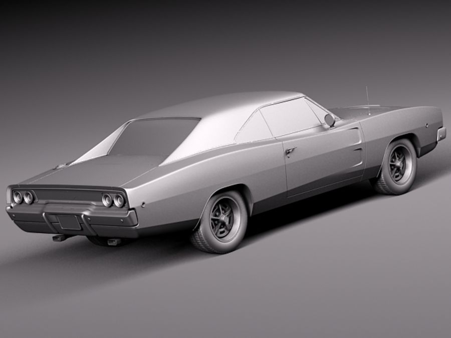 Dodge Charger 1968 royalty-free 3d model - Preview no. 14