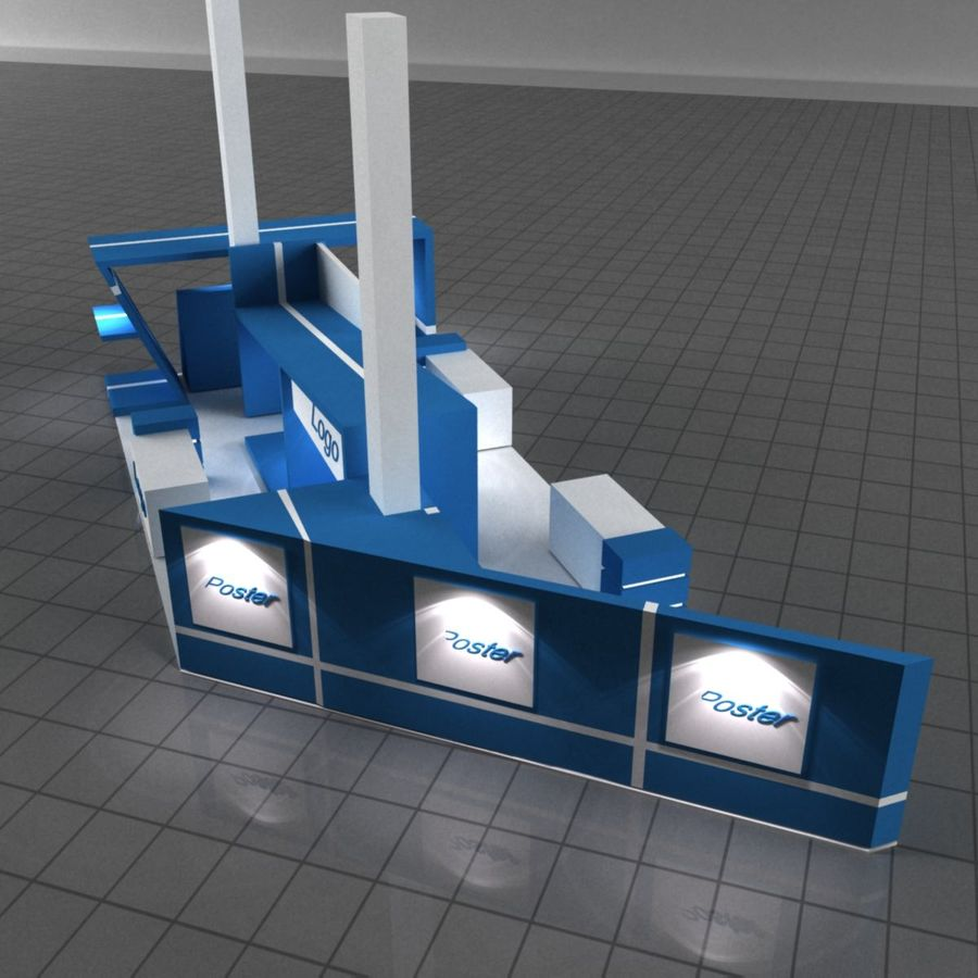 Blue Exhibition Stall royalty-free 3d model - Preview no. 4
