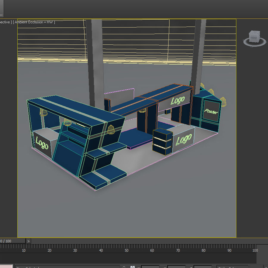 Blue Exhibition Stall royalty-free 3d model - Preview no. 5