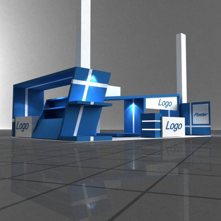 Blue Exhibition Stall royalty-free 3d model - Preview no. 3