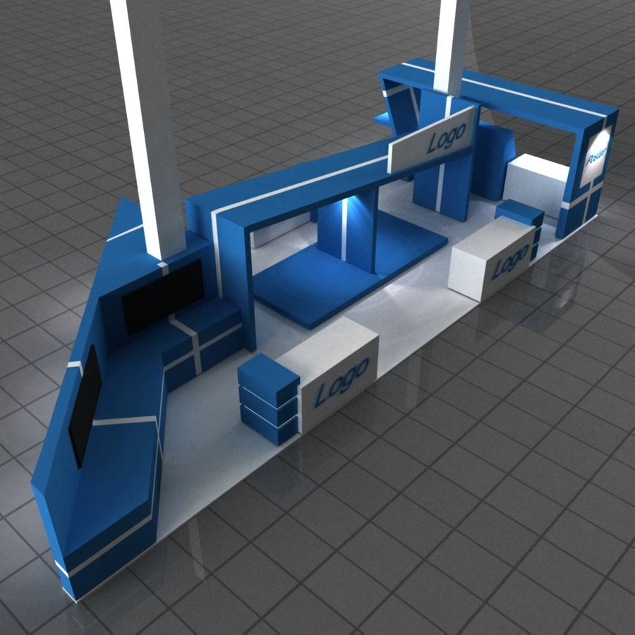 Blue Exhibition Stall royalty-free 3d model - Preview no. 1
