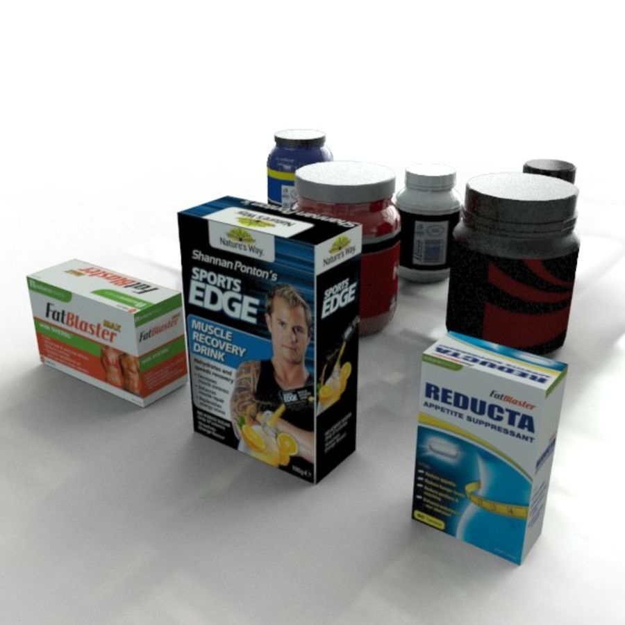 Vitamin Bottles and Boxes royalty-free 3d model - Preview no. 4