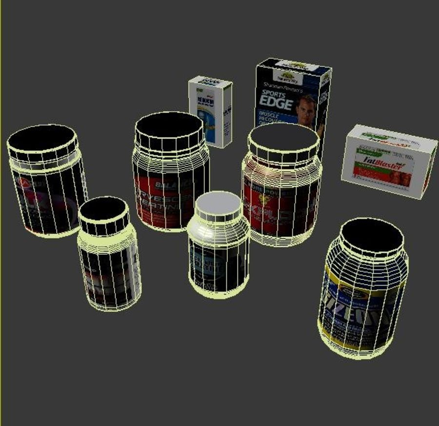 Vitamin Bottles and Boxes royalty-free 3d model - Preview no. 6
